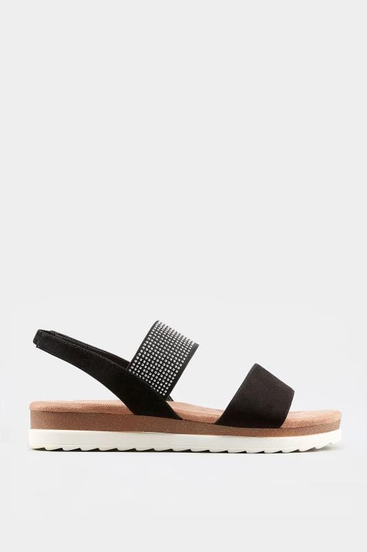 Black Embellished Elasticated Sandals In Extra Wide Fit