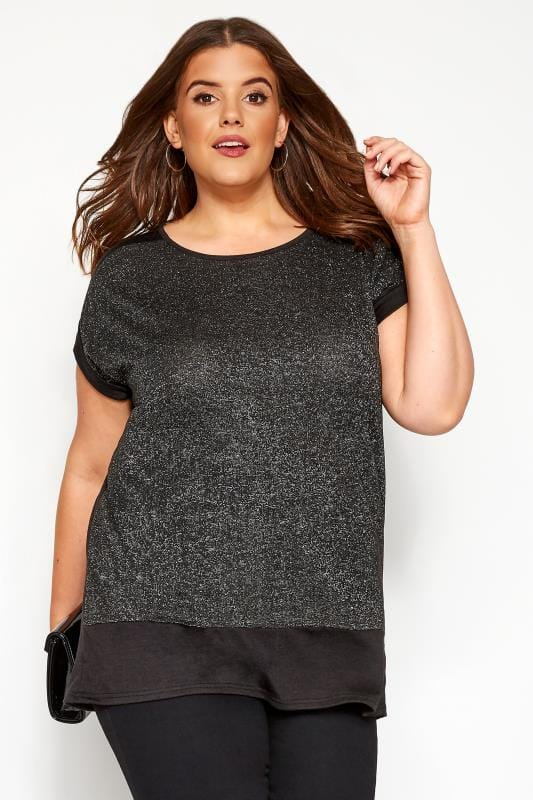 Plus Size Smart Jersey Tops YOURS LONDON Black Silver Metallic Knitted Top