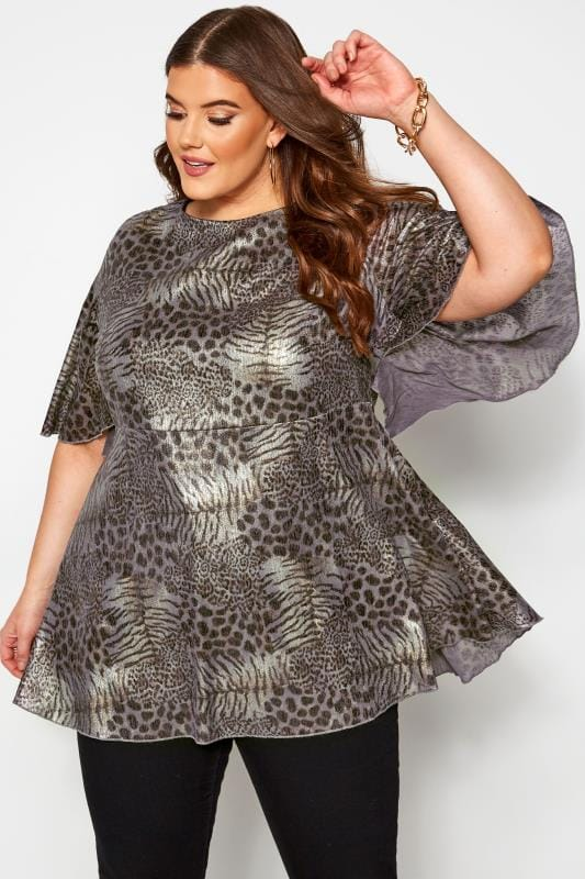 Plus Size Blouses & Shirts Black & Silver Metallic Mixed Animal Print Blouse