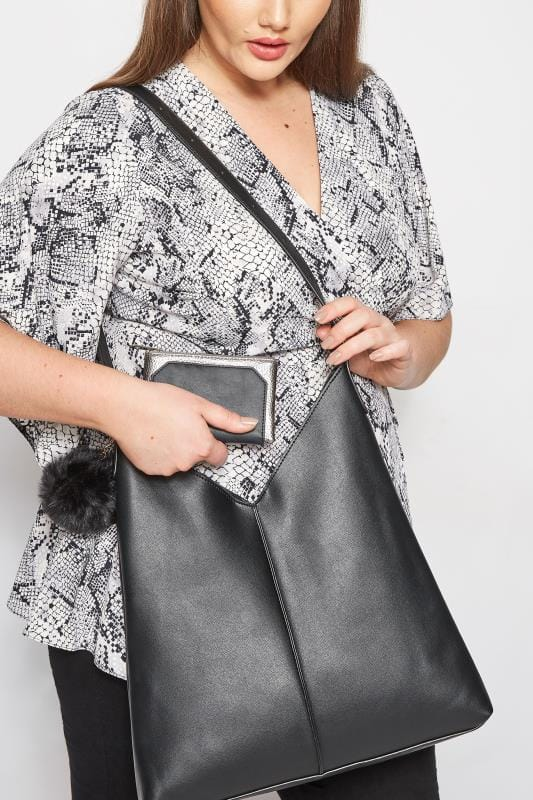 Bags & Purses Black & Silver Metallic Purse
