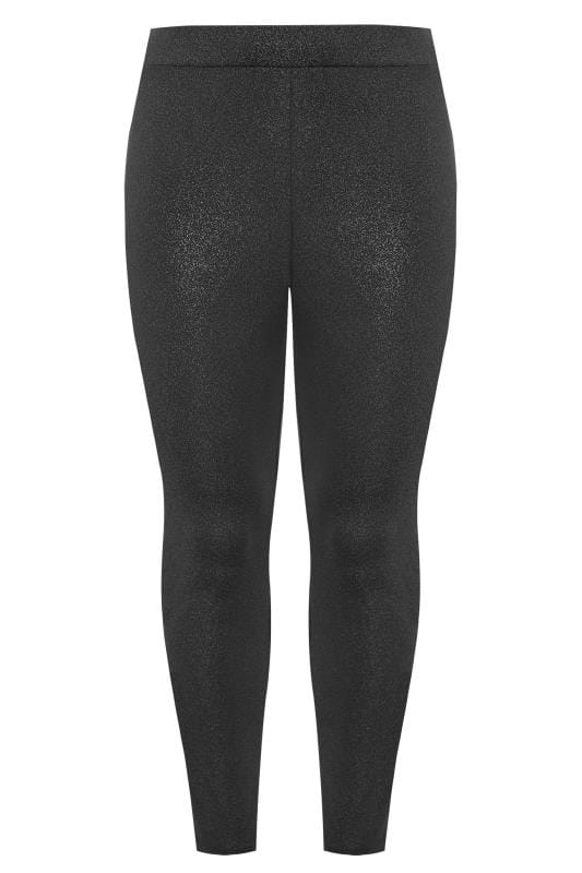 Plus Size Fashion Leggings Black & Silver Metallic Sparkle Leggings