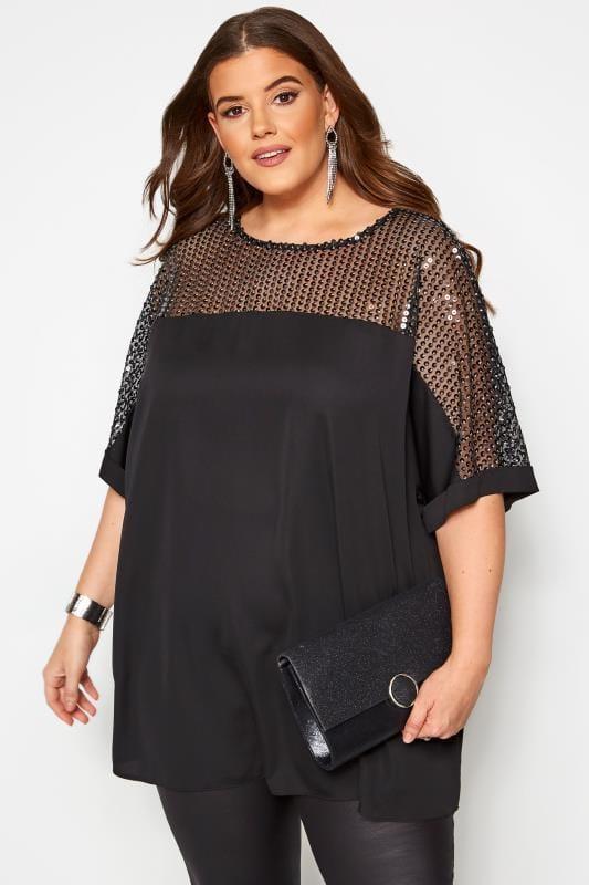 Plus Size Blouses Black & Silver Sequin Sparkle Top