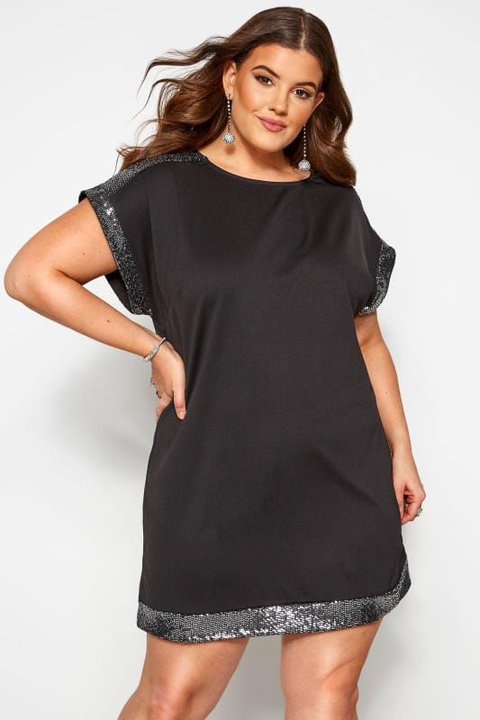 Plus Size Black Dresses Black & Silver Sequin Tunic Dress