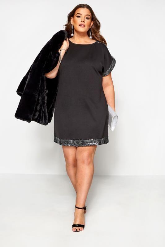 Black & Silver Sequin Tunic Dress