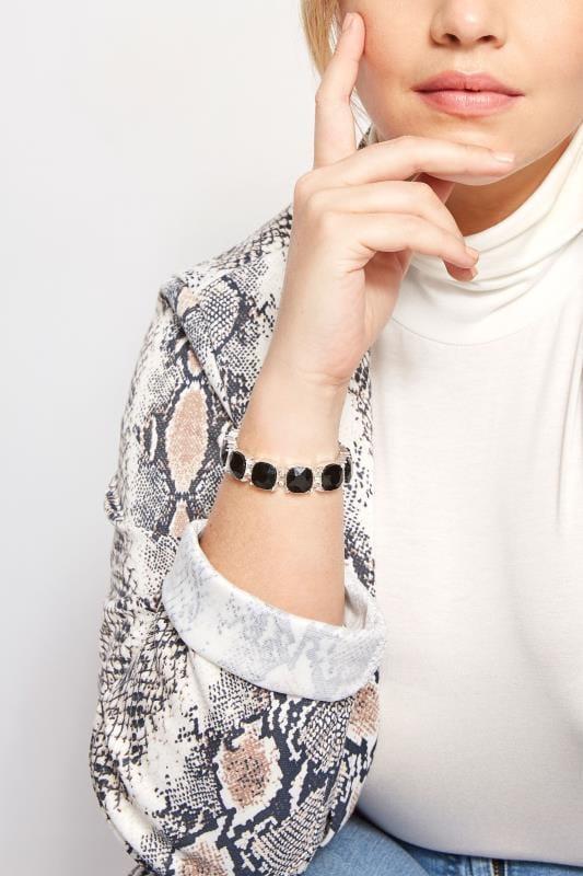 Plus Size Jewellery Black & Silver Stone Bracelet