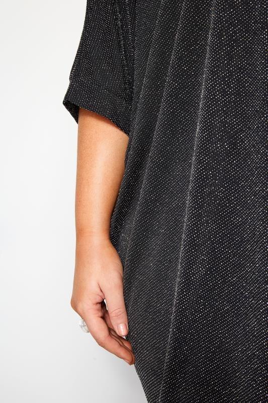 Black & Silver Textured Metallic Cape Top