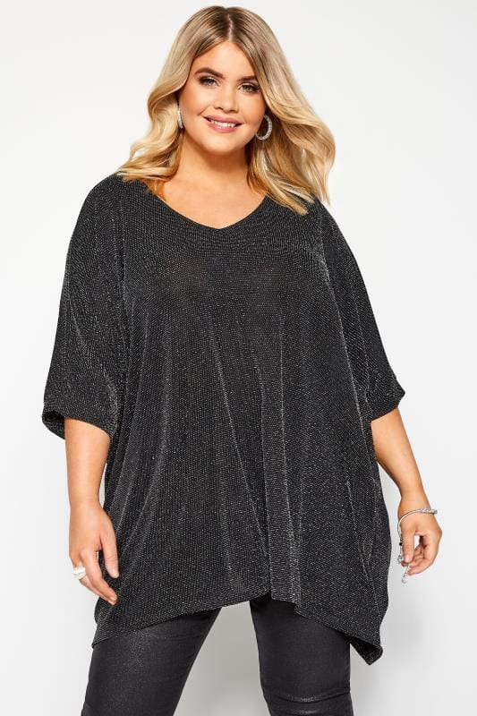 Plus Size Party Tops Black & Silver Textured Metallic Cape Top
