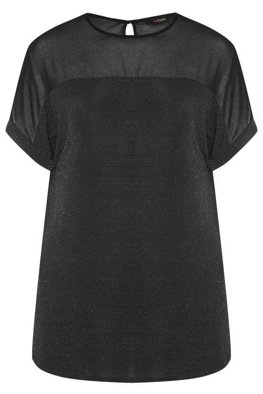Black & Silver Textured Sparkle Chiffon Top