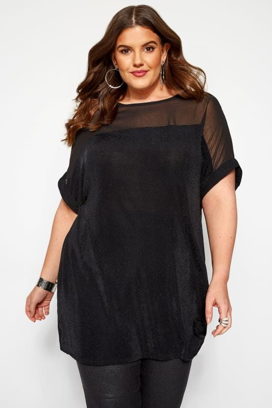Plus Size Jersey Tops Black & Silver Textured Sparkle Chiffon Top
