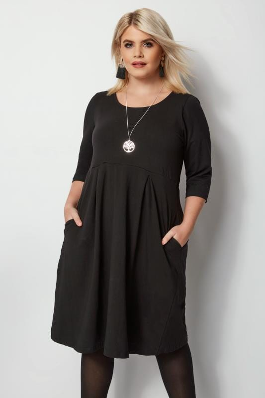 Black Skater Dress, Plus size 16 to 36