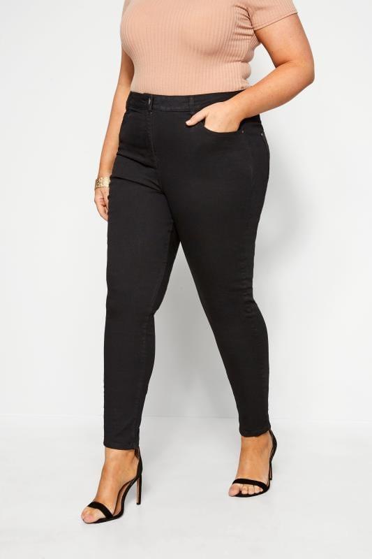 Skinny Jeans dla puszystych Black Skinny Stretch AVA Jeans