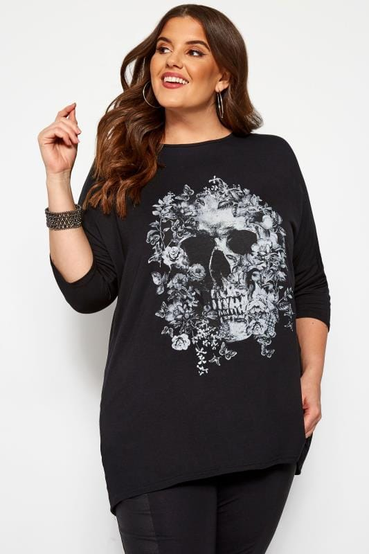 Plus Size Jersey Tops Black Skull Print Top