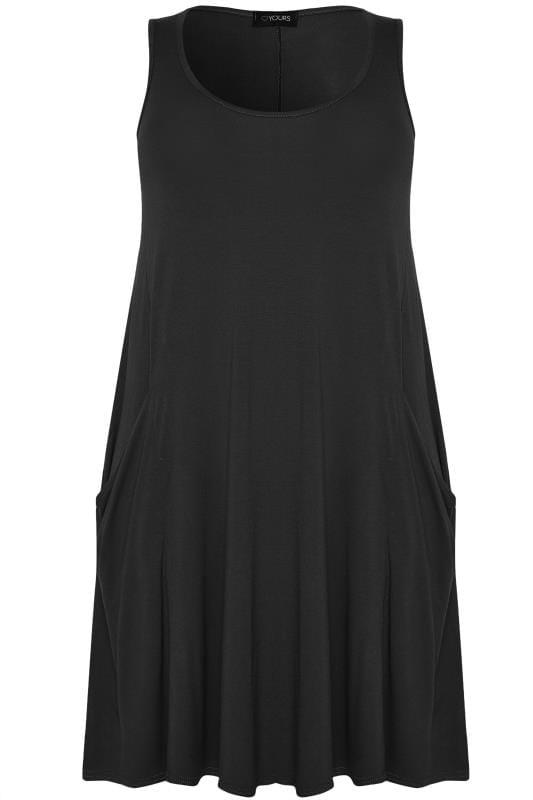 Black Sleeveless Drape Pocket Dress