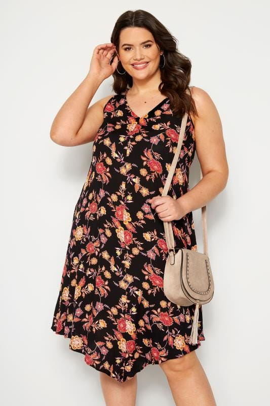 Black Sleeveless Floral Swing Dress