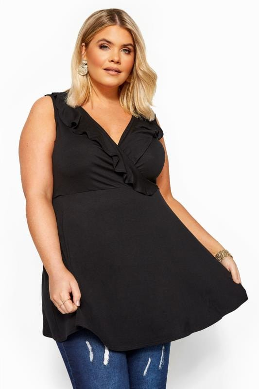 Plus Size Wrap Tops Black Sleeveless Frill Wrap Top