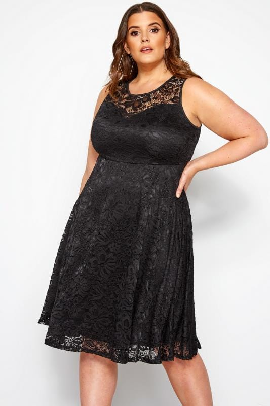 Plus Size Lace Dresses Black Sleeveless Lace Dress