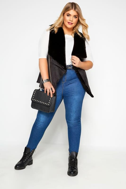 Plus Size Gilets Black Sleeveless Shearling Gilet