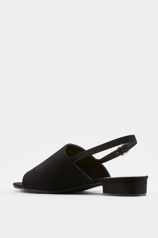 Black Slingback Sandals In Extra Wide Fit