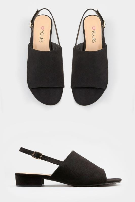 Wide Fit Sandals Black Slingback Sandals In Extra Wide Fit