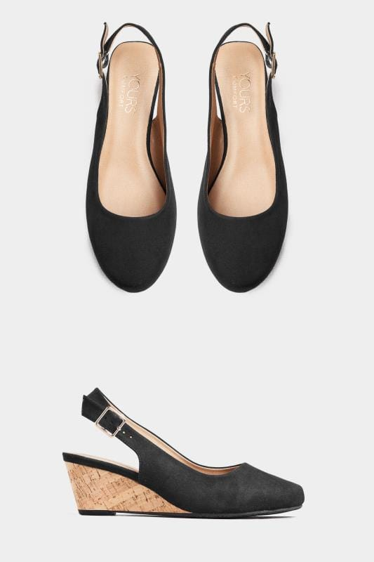 Black Slingback Wedges In Extra Wide Fit