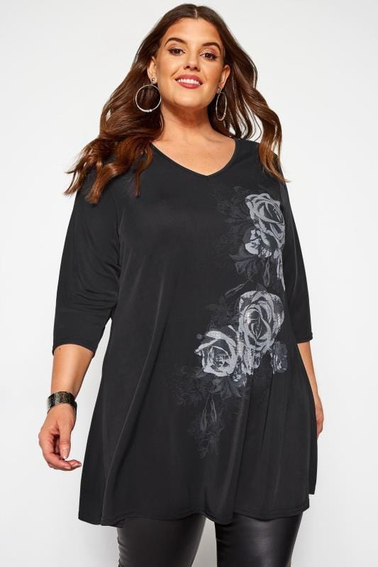 Plus Size Jersey Tops Black Slinky Floral Rose Print Top