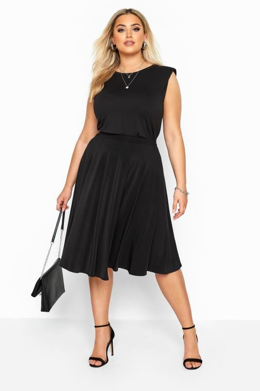 Plus Size Skater Skirts Black Slinky Jersey Skater Skirt