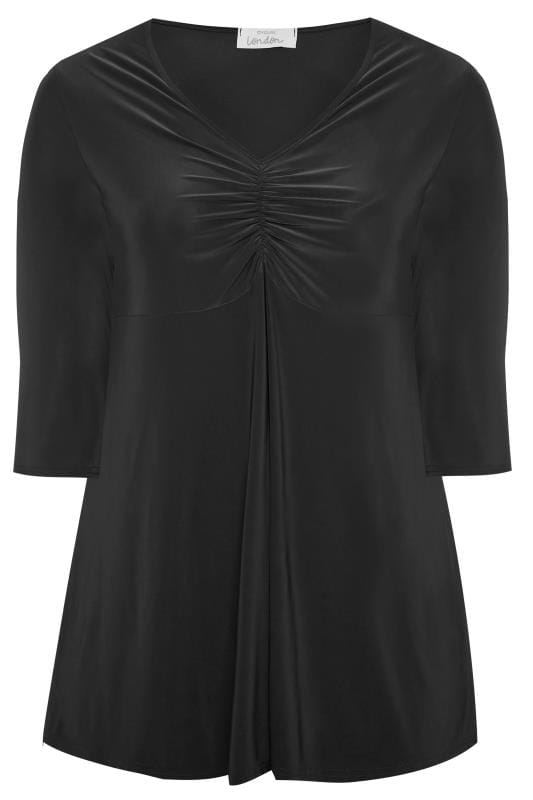 Plus Size Party Tops YOURS LONDON Black Slinky Ruched Bust Top