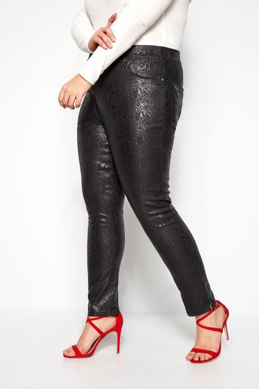 Plus Size Jeggings Black Snake Print JENNY Jeggings