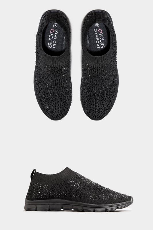 Socken-Sneaker mit Diamante-Verzierung in weiter Passform - Schwarz