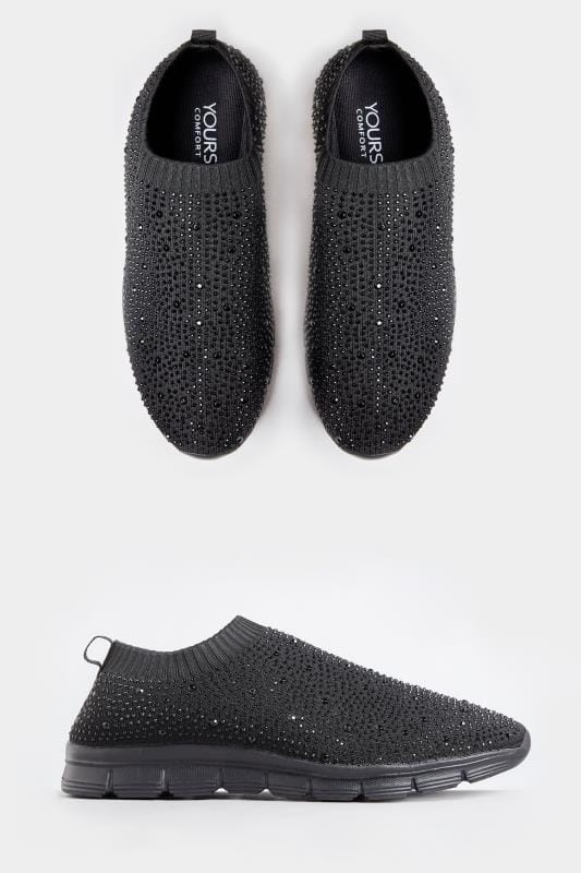 Yours Black Sock Style Diamante Trainers In Extra Wide Fit
