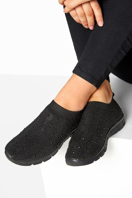 Wide Fit Trainers Black Sock Style Diamante Trainers In Extra Wide Fit