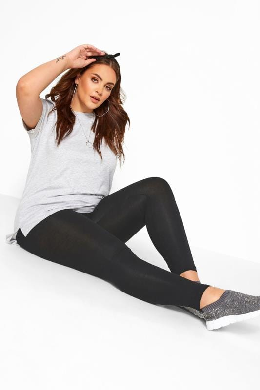Plus Size Basic Leggings Black Soft Touch Leggings