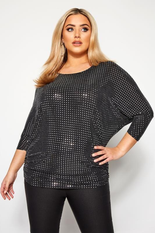 Black Sparkle Embellished Ruched Side Top