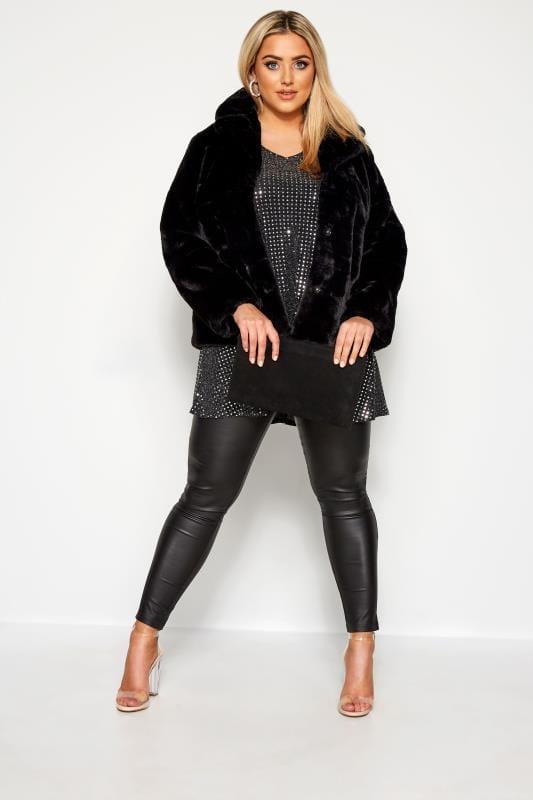Black Sparkle Embellished Swing Top