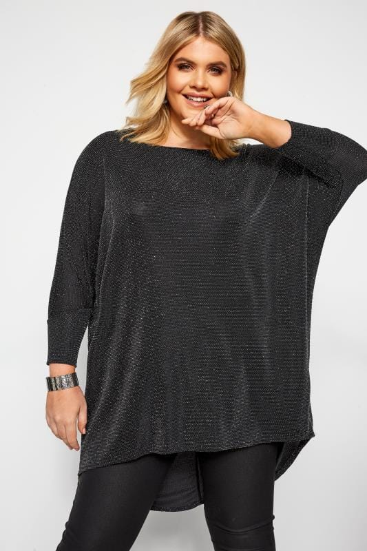 Plus Size Dipped Hem Tops Black Sparkle Extreme Dipped Hem Top