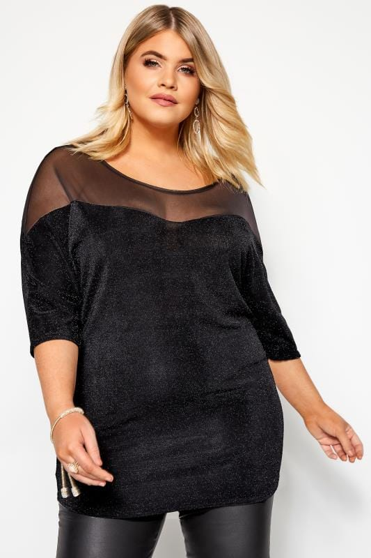 Plus Size Jersey Tops Black Sparkle Mesh Top
