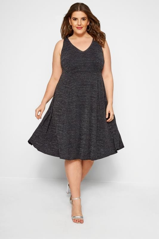 Black Sparkle Skater Dress, plus size 16 to 36
