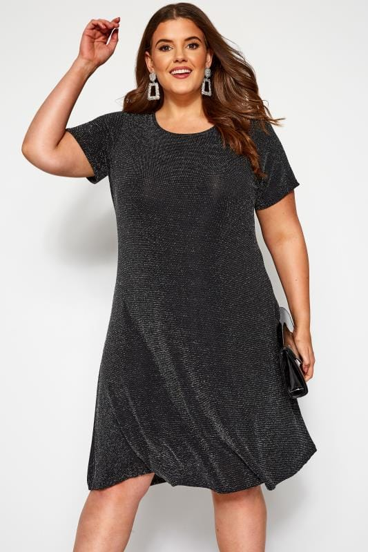 Plus Size Party Dresses Black Sparkle Swing Dress
