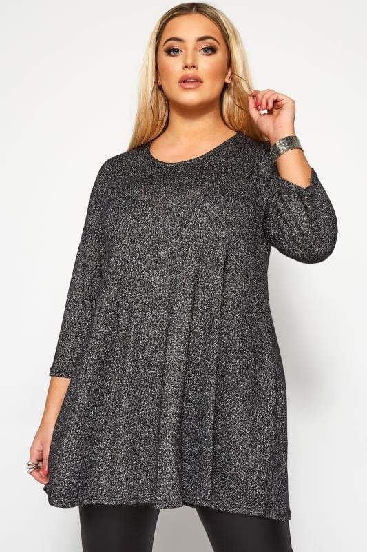 Plus Size Tunics Black Sparkle Swing Tunic