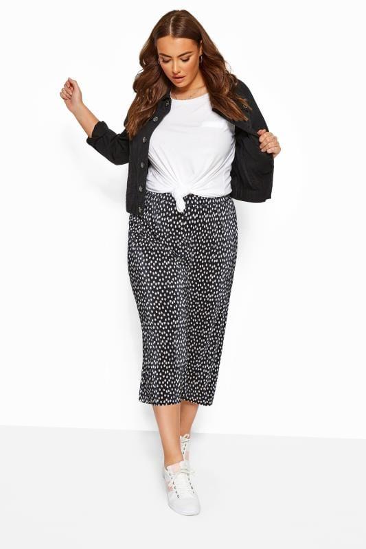 Plus Size Wide Leg & Palazzo Trousers Black Spot Print Plisse Culottes