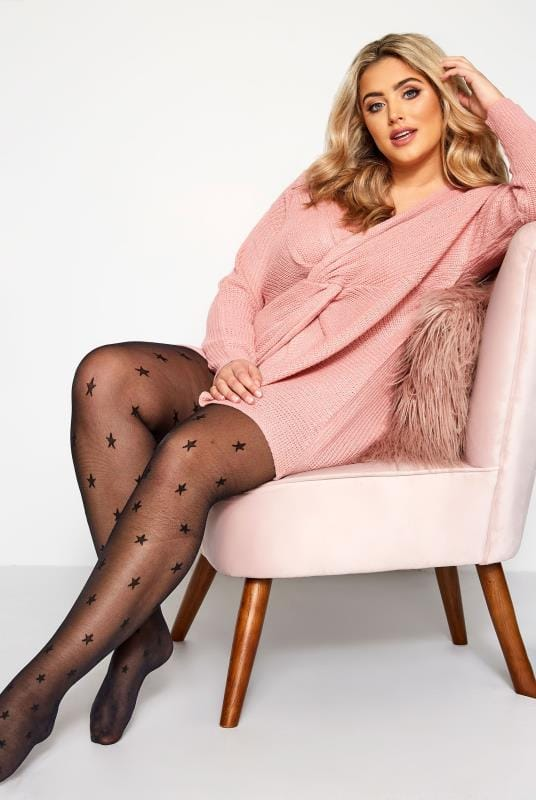 Plus Size Tights Black Star Patterned Tights