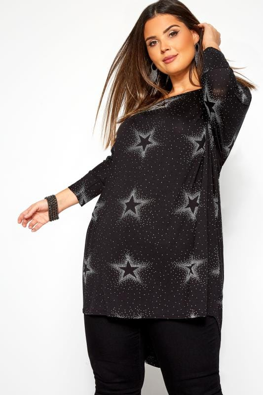 Black Star Print Spotted Extreme Dipped Hem Top