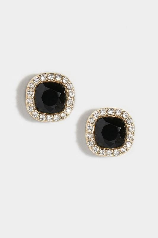 Black Stone & Diamante Stud Earrings