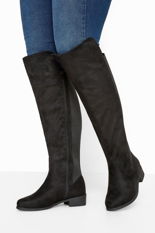 Wide Fit Boots Black Stretch Vegan Suedette Over The Knee Boots In Extra Wide Fit