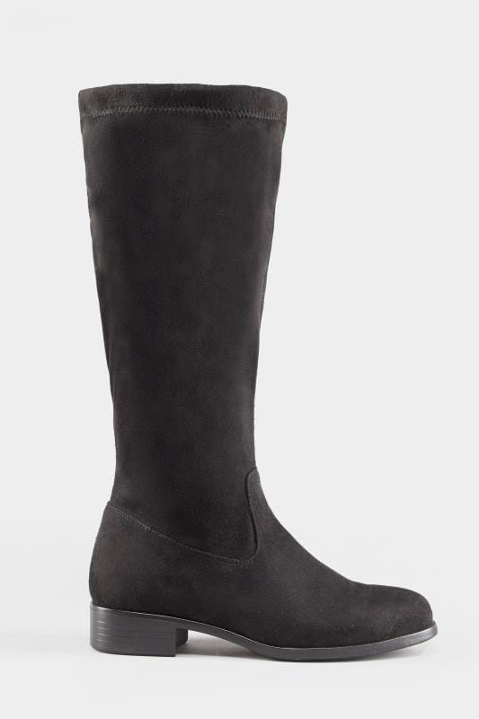 Black Stretch Knee High Boot In Extra Wide Fit