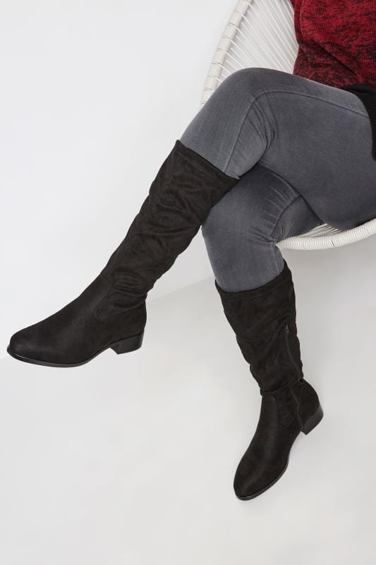 Wide Fit Boots Black Stretch Knee High Boot In Extra Wide Fit
