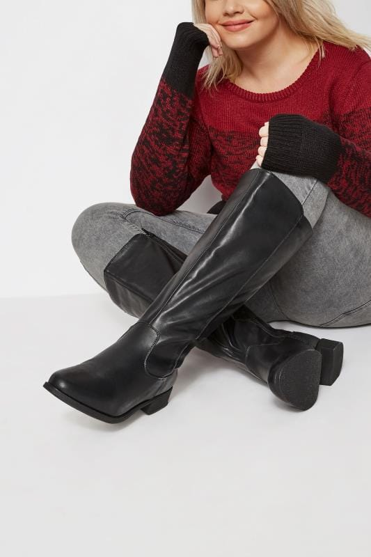 Black Stretch Knee High Rider Boots In Extra Wide Fit