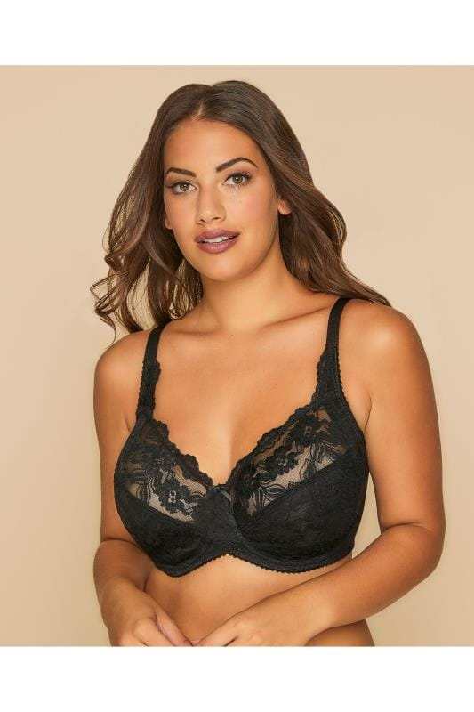 Black Stretch Lace Non-Padded Underwired Bra