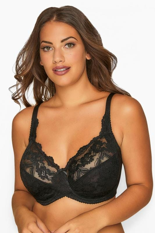 Plus Size Underwired Bras Grande Taille Black Stretch Lace Non-Padded Underwired Bra