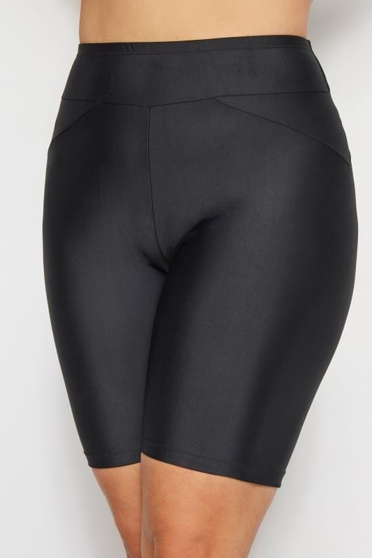 Plus Size Swim Shorts Black Stretch Short Swim Shorts